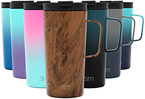 Simple Modern 18oz Scout Coffee Mug Tumbler - Travel Cup for Men & Women Vacuum Insulated Camping Tea Flask with Lid 18/8 Stainless Steel Hydro Pattern: Wood Grain -  CFC-18-WD