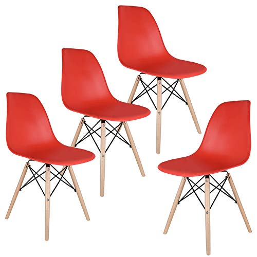 labworkauto Modern Mid-Century Style Chair Natural Wooden Plastic Easy Assemble for Dining Kitchen Living Room Bedroom Eames Chairs Set of 4 Red