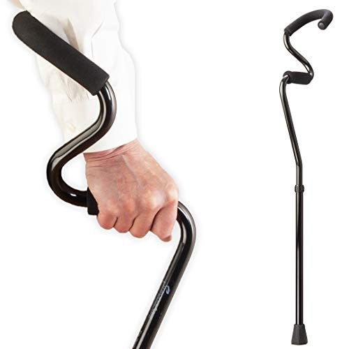 StrongArm Comfort Cane  Lightweight Adjustable Walking Cane  Stabilizes Wrist amp Provides Extra Support amp Stability  Ergonomic Hand amp Forearm Grip  FSA/HSA Eligible Black