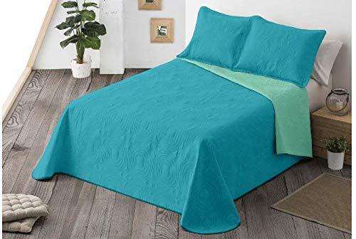 Energy Colors Textil-Hogar - Chill - Colcha Boutí Verano Reversible Liso Bicolor con 2 Funda Cojín 50 x 70 cm (Turquesa, 250 x 265 cm (Cama 150))