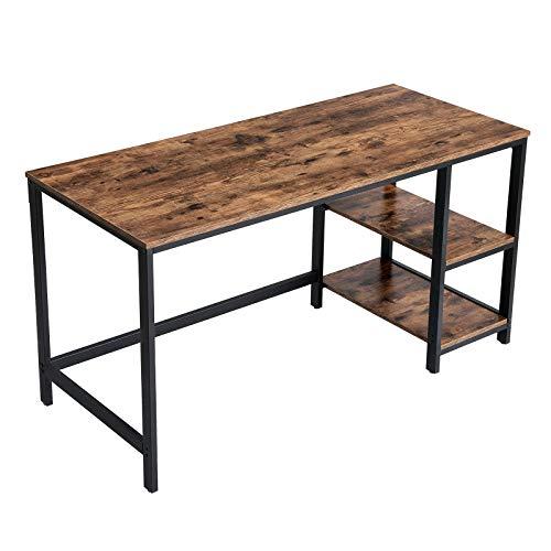 VASAGLE Schreibtisch, Computertisch, PC-Tisch, Bürotisch, mit 2 Regalebenen auf der rechten oder linken Seite, fürs Büro, Schlafzimmer, Stahlgestell, 140 x 60 x 75 cm, vintagebraun-schwarz LWD55X
