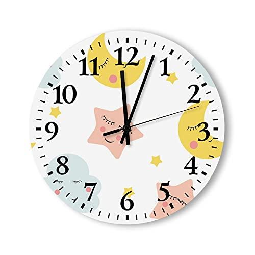 Reloj de pared de madera de 15 pulgadas, no hace tictac, funciona con pilas, lindas nubes, estrella y lunas, reloj para sala de estar, cocina, dormitorio, oficina, escuela, hotel