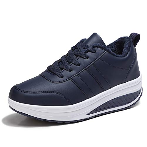 Scarpe Ginnastica Donna Invernali Zeppa Scarpe Dimagranti Sneaker Casual Tennis Piattaforma Running Fitness Sportive Outdoor Scarpe Passeggio Blu Navy 41.5EU = Produttore:42