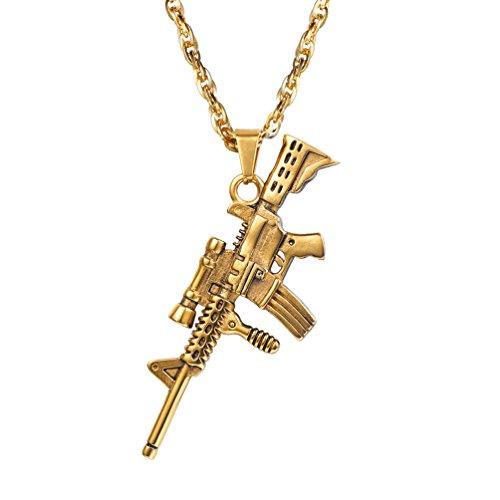 PROSTEEL Male Necklace Hip hop M16A4 Gun Pendant Necklace Gold Plated Hip Hop Chain (Gold)