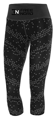 Freenord Run&Gym Damen Thermoaktiv Sublimation Leggins Quadrate Muster Tights Laufhose Caprihose 3/4 Leggings Fitness Pilates Outdoor...