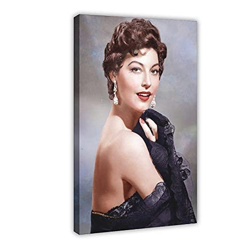 Vintage Beauty Poster Ava Lavinia Gardner 25 Leinwand Poster Wandkunst Dekor Druck Bild Gemälde für Wohnzimmer Schlafzimmer Dekoration Rahmen: 50 × 75 cm