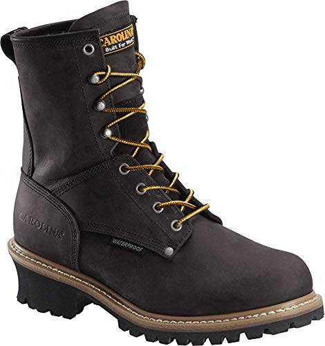 "Carolina Men's CA9823 Steel Toe 8"" Waterproof Scubaliner Loggger Black Leather Work Boot - 11 2E US"