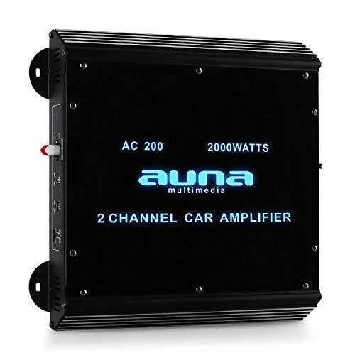 Auna W2-AC200 - Amplificatore per Auto, Pannello in Vetro Acrilico, Illuminazione LED Blu, 20 Hz a 20 kHz, 2000W Max, 2 Canali, 180W RMS, Carbone