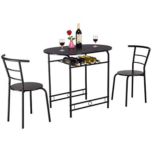 COSTWAY Juego de 3 Piezas Mueble para Comedor 1 Mesa y 2 Taburete Set para Cocina de Madera y Metal (Negro)