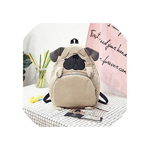 Damen-Rucksack, Schultasche, Leinen, niedliche Tierohren, Stickerei, Kord, Rucksack, Vintage-Stil, hund (Mehrfarbig) - SB-122