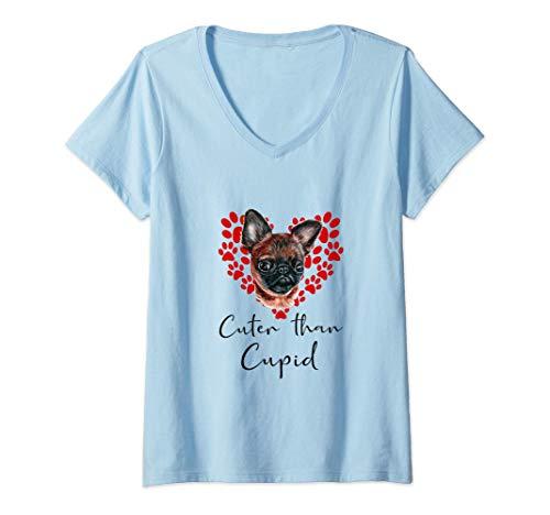 Mujer Grifón De Bruselas Cuter Than Cupip Perro Día San Valentín Camiseta Cuello V