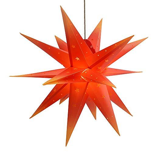 3D Weihnachtsstern Außen Batterie Timer - LED Adventsstern Stern, Fenster Stern Deko, Partys Oder Weihnachten Dekoration, Für Innenhof, Balkon Und Garten(58cm) - Qijieda