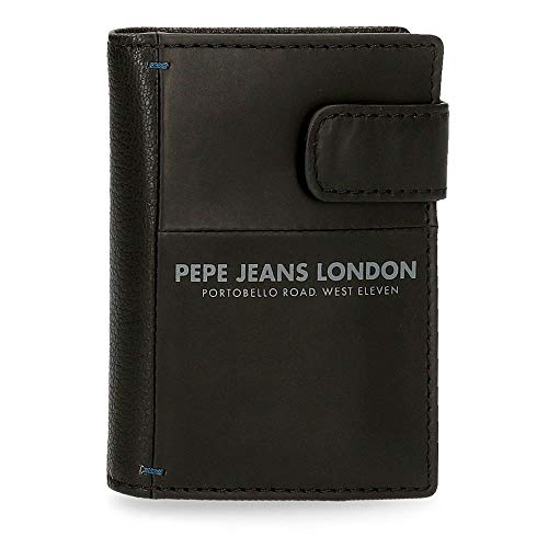 Pepe Jeans Cutted Tarjetero Vertical Negro 6,5x10x1,5 cms Piel