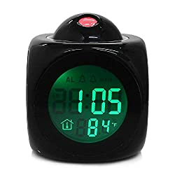 BGJ Alarm Clock Vibe LCD Talking Projection Alarm Clock Time & Temp Display Reveil Projection Relojes Despertadores Clocks