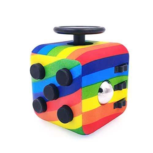 GreenBee Cubo antiestres, Fidget Cubes, Fidget Toys, Anti-ansiedad Anti-Stress, Juguetes Antiestres con 6 módulos relajantes, para niños,Adolescentes y Adultos. (Arcoíris)