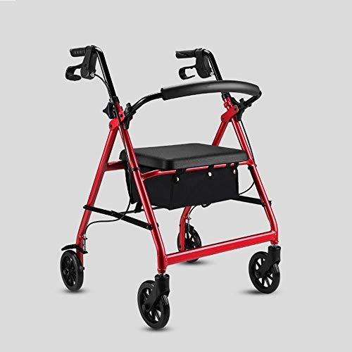 Andadores para discapacidad Andador para Ancianos Bariátrica Pesado Rollator, con 6 Pulgadas Wheels, Doblado de Aluminio de Ruedas Walker, Freno de Mano Lock (Color : Red)