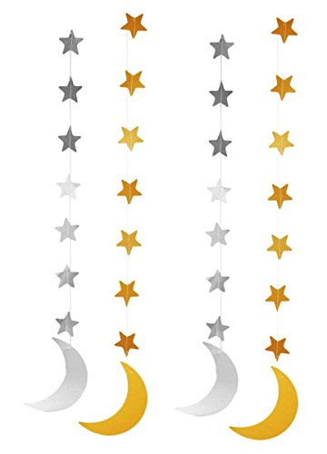 Price comparison product image Zaffron Silver and Gold Crescent Moon Hanging Eid Decorations (4 Pack)