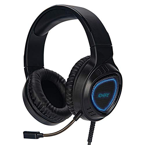 ETWAR Stereo Gaming-Headset-Compatible-with-Xbox one PC PS4 Laptop Mac iPad Games with Noise Immunity Microphone LED Light,Over Ear Headphones with Bass Surround Soft Memory Earmuffs