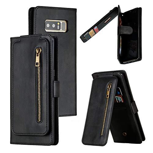 LODROC Galaxy Note 8 Hülle, TPU Lederhülle Magnetische Schutzhülle [Kartenfach] [Standfunktion], Stoßfeste Tasche Kompatibel für Samsung Galaxy Note8 - LOYKB0300180 Schwarz