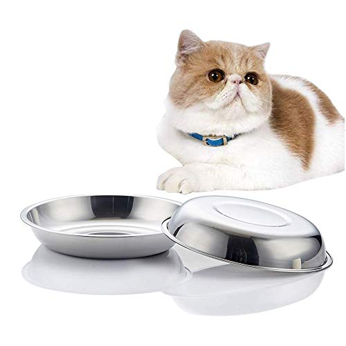 VENTION Global Wansheng Cat Food Dish, Whisker Relief Cat Bowls, Stainless Steel Pet Bowls, Shallow Cat Dish, 21 Ozs Dog Food Bowls, Outer Dia. 7 2/5 Inches, Set of Two