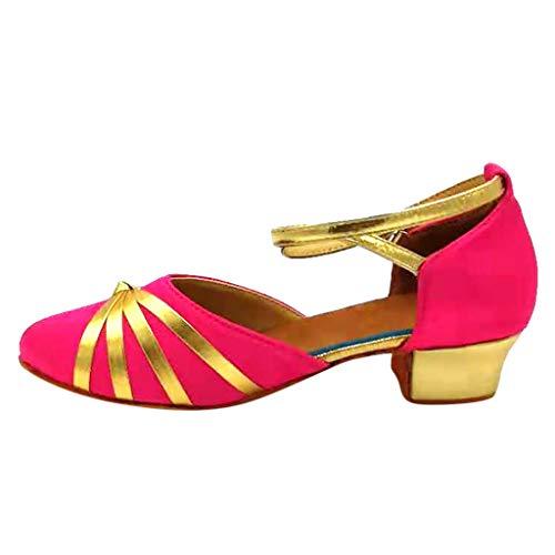 Mädchen Tanzschuhe für Latein Salsa Ballsaal Tango Dance Schuhe HDUFGJ29 EU(Pink)