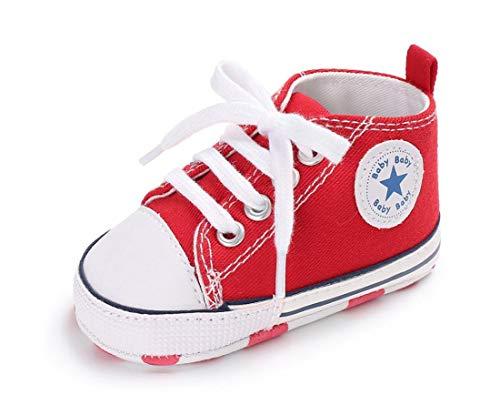 Auxma Zapatos Para Bebé Zapatilla de Deporte Antideslizante del Zapato de Lona de La Zapatilla de Deporte Para 3-6 6-12 12-18 M (3-6 M, Rojo)