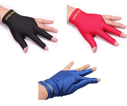 ZXJOY 3 Finger Billiards Gloves Snooker Pool Cue Shooters Men And Women For Left Hand,3 Pieces (A)