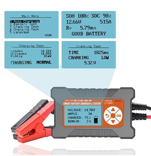 ghtmarrine Cargador de batería de Coche Completamente automático con Pantalla LCD probador de batería Inteligente 12V / 3A 2-120AH