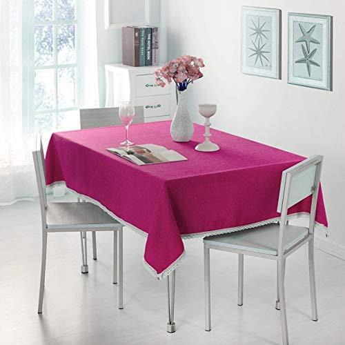 DAKEUR Paño de Mesa Paño de té Liso Paño de Mesa de Color sólido Paño de Mesa Paño de Cubierta 110 * 160 玫红