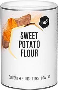 nu3 Harina de batata - 500 g de patata dulce molida – Baja en hidratos – Ideal en dietas paleo y sin gluten - Rica en fibra y baja en grasa - Origen 100 % natural - Alternativa para cocinar y hornear