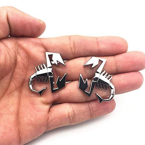 THYQU 2 Satz (2 Teile/Satz) 3D Metall Skorpion Form Emblem Abzeichen Aufkleber Für FIAT Abarth Renault Autotür Kotflügel Kofferraum Hinten Decor, 3