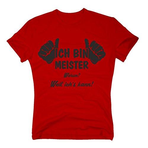 T-Shirt Ich Bin Meister, Weil ich's kann, S, rot-schwarz