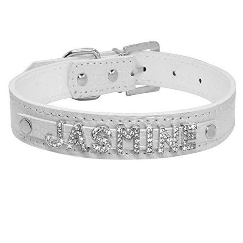 WangJIN verstelbare halsband voor honden en katten, gepersonaliseerd, puppen, strass, halsbanden voor kleine honden, personaliseerbaar voor Chihuahua Yorkshire met namen en charms voor katten, S, Croc white