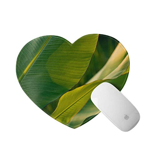 Gaming Desk Mousepad Banana Leaf Backlit with Sunlight A Gaming Mouse Pad 9.4×7.8×0.12 Inches Ultra Thick 3 Mm Heart Shaped Gaming Laptop Mousepad Ideal for Desk,pc and Laptop