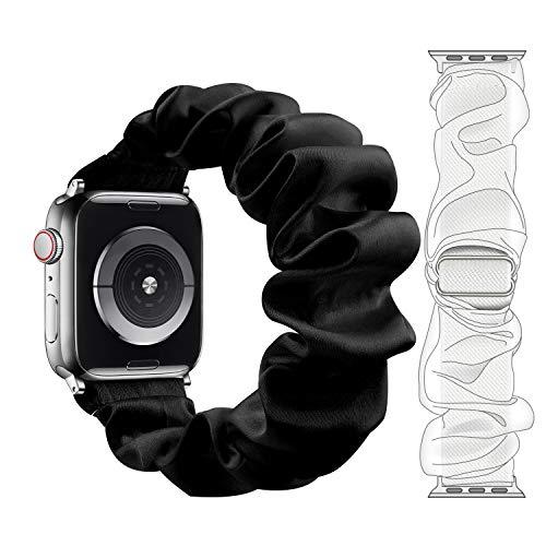 Fengyiyuda Cinturino Compatibile con aple Watch 38mm 40mm 42mm 44mm,Cinturino di Elastico Scrunchie con Stampato in Tessuto per Iwatch 6/SE/5/4/3/2/1,Nero,38/40mm