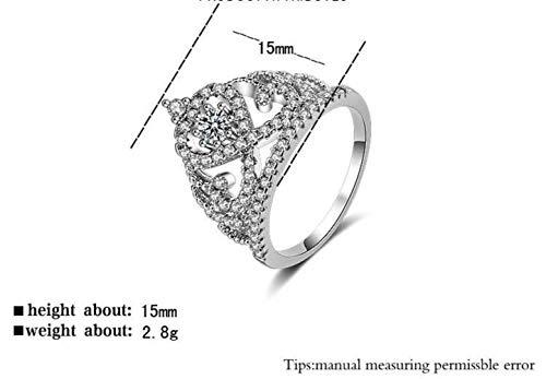 Thumby Hand Ornament Europa en Amerika Ring Rose Goud Kroon Zirkoon Diamanten Ring Sieraden, Vrouw, Klassiek, Verloving, Platte Ring, Klauw Set, Geometrie, Platina geplateerd, US 7