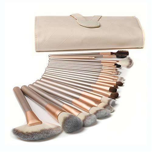24pcs ensembles de pinceaux de maquillage professionnel, pochette en PU en cuir beige for le maquillage, poils en nylon. (Color : Beige)