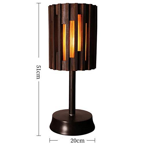 Zenghh Producto Hecho en casa de la Teca Tabla de lámpara de Escritorio Ambiente exótico Noche de la Noche de la lámpara de Lectura de luz, luz Caliente 3000K Ajuste de Brillo, botón on/Off, Mejor p