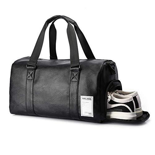 UBaymax Sporttasche Reisetasche mit Schuhfach, PU Leder Wasserdicht Sport Duffel Gym Bag, Unisex Faltbare Handgepäck Weekender für Männer und Frauen