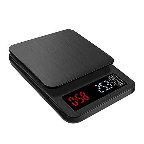 Balanza De Cocina, El Café O La Comida Pesan, Electrónico Digital USB/Carga De Batería Función De Tara Pantalla LCD, Contador Regresivo, Para Horneando Joyería Regalo (10000/1G)