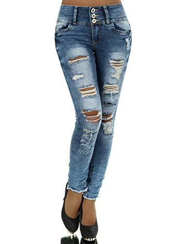 N281 Damen Jeans Hose Corsage Damenjeans High Waist Röhrenjeans Hochbund, Farben:Blau, Größen:36 (S)