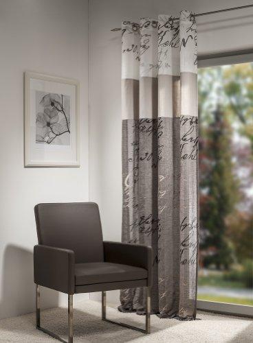 Gardine, Ösenschal,140cm x 245 cm weiß / taupe, Kalligraphie 20, 3-stufig, halbtransparent , elegant weich fließende hochwertige Qualität von HECO Textilverlag