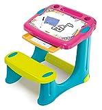Smoby 420219 Schreibtisch Magic Pink, Kinder-Schreibtisch mit integrierter Sitzbank und Schublade aus Kunststoff für Kinder ab 2 Jahren, rosa