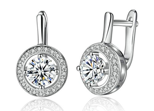 Jewelya Pendientes para Mujer Silver Color con Cubic Zirconia Cristal