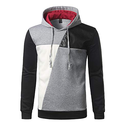 Big Promotion!Zlolia Men Personality Long Sleeve Hoodie Stitching Color Coat Jacket Outwear Sport Tops Gray