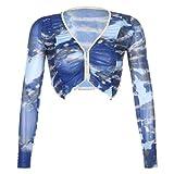 Cslada Y2k Tie-Dye V-Cuello Lotus Leaf Super Corto Crop Top 90s Retro Punk Camiseta Mujer