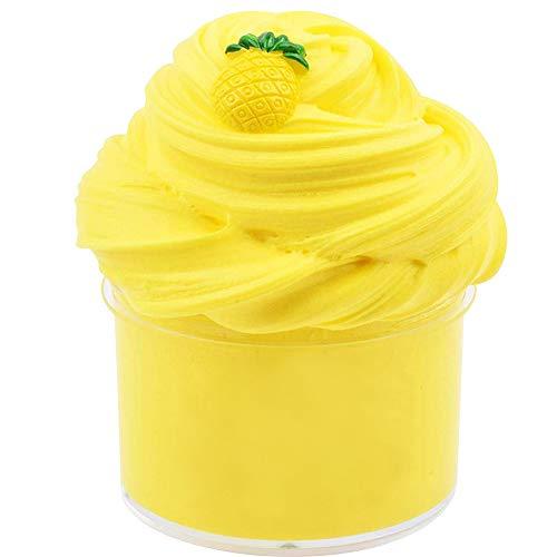 Fluffy Ananas Wolke Schleim, Fluffy Slime Gelb Crystal Schleim Kristallschlamm Stress Relief Schlamm DIY Spielzeug für Kinder Erwachsene 200ML/7oz