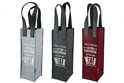 HandWerk Bolsas de regalo para botellas de vino de fieltro, con texto en alemán 'Friends' (3 unidades)