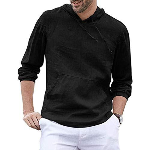Tyoby Herren Mode Baggy Baumwolle Leinen Kapuzen Tasche Solide Langarm Tops Retro Schnitt Oberteil Hoodie(Schwarz,L)