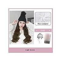 ナチュラル接続髪合成のBlack Hatカーリーヘアストレートヘアウィッグ弾性ニット帽子ウィッグ耐熱女性、2I302,22Inches
